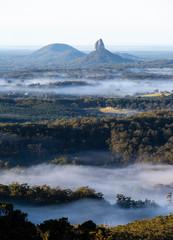 Misty morning, Glasshouse Mountains