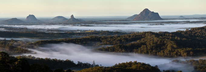 Early morning panorama Glasshouse Mountains