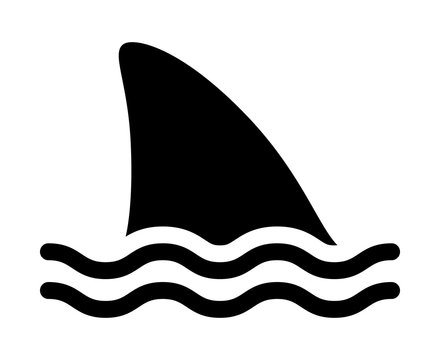 Shark attack warning sign with shark dorsal fin swimming in water flat vector icon for apps and print