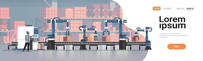 Fototapeta man engineer controlling conveyor belt line robotic hands factory automation production manufacturing process concept warehouse storage interior horizontal copy space vector illustration obraz