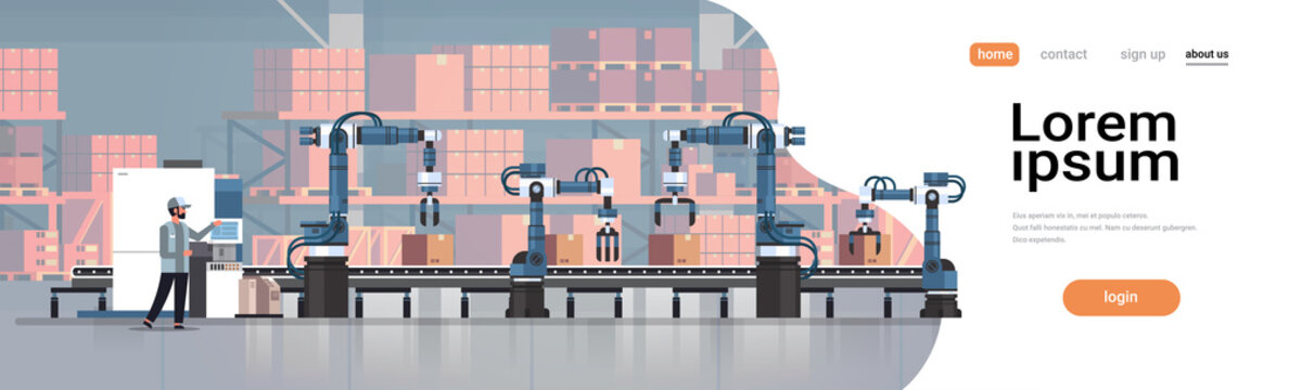 man engineer controlling conveyor belt line robotic hands factory automation production manufacturing process concept warehouse storage interior horizontal copy space vector illustration