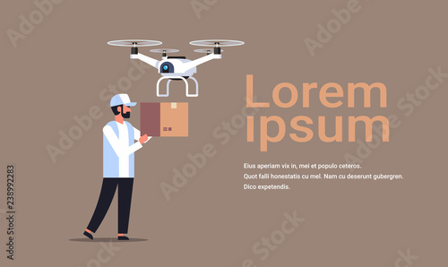 man courier send parcel drone air delivery modern logistic