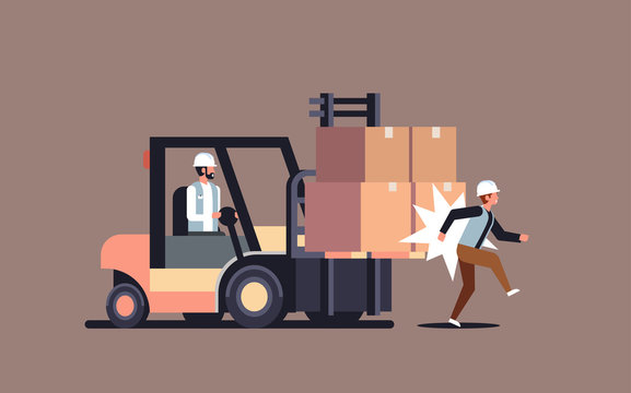 forklift driver hitting colleague factory accident concept warehouse logistic transport driver dangerous injured worker horizontal