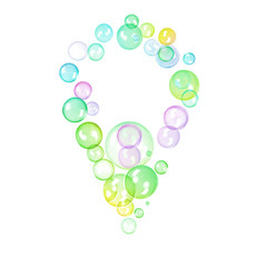Illustration of map pointer made of bright colorful bubbles