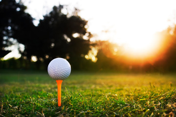 Golf ball is on the tee in a beautiful golf course ready to play golf.Green grass with sunshine in the morning makes it fresh.Sports for good health.It is popular with people around the world.