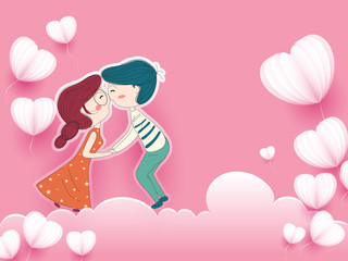 Cute couple in love on the sky, paper heart shapes and cloud. Happy Valentine's Day Background. Wall mural