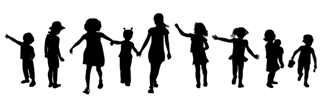 Editable silhouettes of children in various poses.
