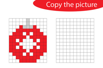 Copy the picture, pixel art, christmas ball cartoon, drawing skills training, educational paper game for the development of children, kids preschool activity, printable worksheet, vector illustration