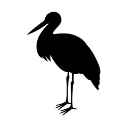 stork stends, vector illustration ,  black silhouette