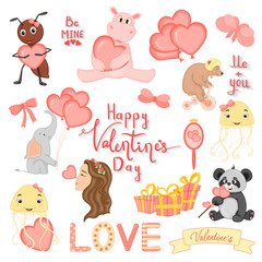 cartoon set with animals and lettering for Valentine s day. stickers in the diary.