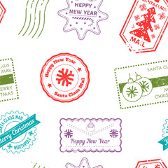 Santa Claus post and marks from mails of kids vector.