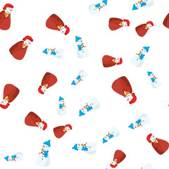 Christmas Seamless Pattern Background with Snowman. Vector Illustration.