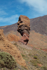 Roque Cinchado and surroundings, attractive travel destination with its volcanic, unusual landscape and moon-like rocky terrain in Teide National Park, Tenerife, Canary Islands, Spain