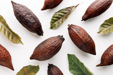 Cocoa pods with cocoa leaves on a white background, creative flat lay food concept