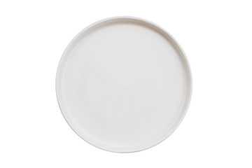 Isolated top view of white empty plate on white background.