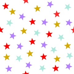 Stars seamless pattern vector, bright colors