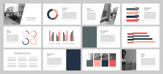 Annual report. Multicolored and black elements on a gray background. The best template from business presentations, used in marketing, advertising, business. Banner and flyer.