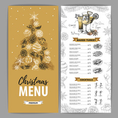 Hand drawing Christmas holiday menu design. Restaurant menu