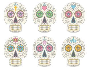 Set of six Sugar Skulls