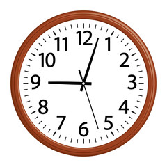 Wooden wall clock. Simple style. 3D effect vector