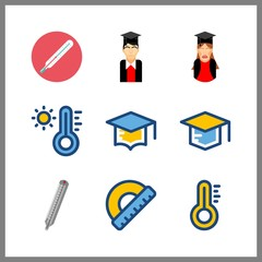 9 degree icon. Vector illustration degree set. protractor and thermometer icons for degree works