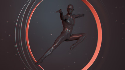 Black plastic human body inside abstract red coral circle. Kung Fu, karate combat sports. Action jump pose. 3D rendering illustration