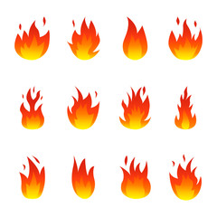 Flame fire icons set. Colorful Vector illustration.