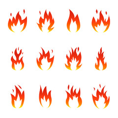Flame fire icons set. Vector illustration on white background.