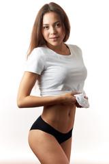 sexy model in stylish underwear over white backround. close up shot