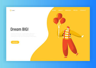 Clown Character Landing Page Template. Funny Carnival Joker Holding Balloon Making Fun Face. Birthday Party Circus Concept for Website or Banner. Flat Cartoon Vector Illustration