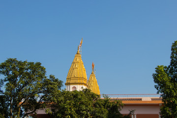Indian temple top view, on background of blue sky