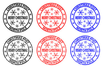 Merry Christmas, Christmas Post - North Pole - rubber stamp - sticker - vector - black, red, blue,
