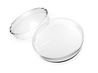Empty Petri dish isolated on white background. 3d illustration.