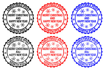Merry Christmas and happy new year, Christmas Post - North Pole - rubber stamp - sticker - vector - black, red, blue,