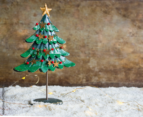 Close Up View Of A Vintage Metal Christmas Tree Decoration And