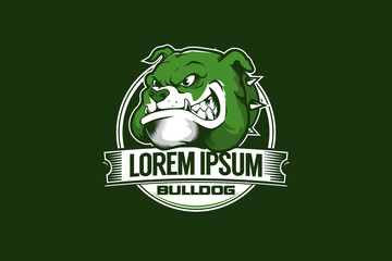bulldog head cartoon character sport theme vector round logo template