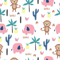 Seamless pattern with African animals, monkey, elephant, palm trees. Children's pattern with hand-drawn texture. For print.