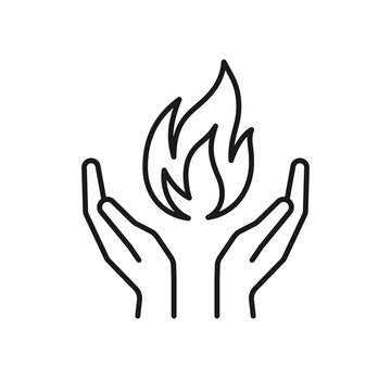 Isolated black outline icon of flame in hands on white background. Line icon of fire and hands. Symbol of healing.