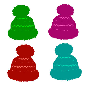 Set of winter hats in