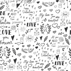 Seamless pattern with drawn design elements for Valentine's day. Hand drawn. Vector illustration