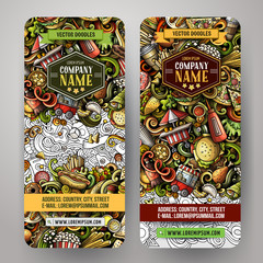 Fast food hand drawn doodle banners set. Cartoon detailed flyers.