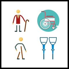 4 disabled icon. Vector illustration disabled set. walker and wheelchair icons for disabled works