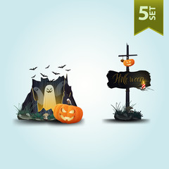 Halloween icons. Ghosts flying out of the old stump and a wooden pole with Jack pumpkin