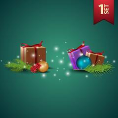 Set of realistic Christmas icons
