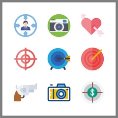 9 aiming icon. Vector illustration aiming set. gun and target icons for aiming works