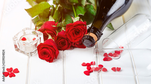 Valentines Card Beautiful Romantic Composition With Red Roses