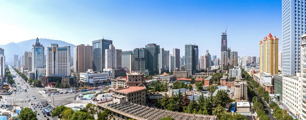 LANZHOU, CHINA - APRIL 2, 2016: The beginning of construction of a new modern skyscraper in Lanzhou city, Gansu province, China.
