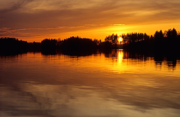 Sunset over lake in Eastern Finland