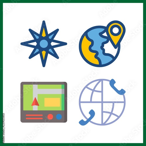 4 map icon  Vector illustration map set  planet earth and
