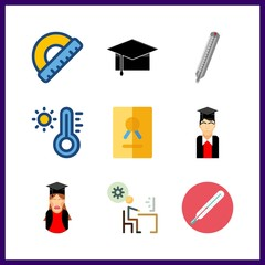 9 degree icon. Vector illustration degree set. thermometer and master icons for degree works